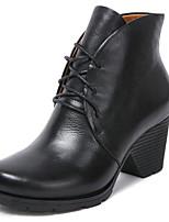 Недорогие -Жен. Обувь Кожа Наппа Leather Осень Зима Армейские ботинки Удобная обувь Ботинки На толстом каблуке Ботинки для Повседневные Черный Винный
