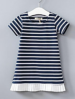 cheap -Girl's Daily Striped Dress, Polyester Spring Summer Short Sleeves Street chic Navy Blue