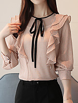 cheap -Women's Basic Street chic Blouse-Houndstooth