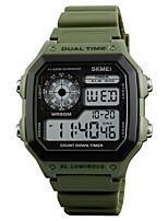 abordables -SKMEI Homme Numérique Montre numérique Alarme Calendrier Etanche Montre Décontractée Caoutchouc Bande Décontracté Cool Vert