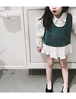 Недорогие -Девичий Платье Повседневные Полиэстер Однотонный Лето Без рукавов Классический Зеленый