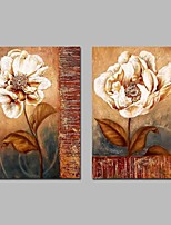 cheap -Oil Painting Hand Painted - Abstract Floral/Botanical Vintage Canvas