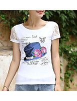 cheap -Women's Basic T-shirt - Floral Letter Animal Lace Print