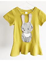 preiswerte -Mädchen Kleid Alltag Geometrisch Polyester Sommer Kurzarm Grundlegend Rosa Gelb