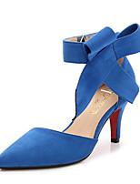 preiswerte -Damen Schuhe Beflockung Frühling / Sommer Komfort High Heels Stöckelabsatz Spitze Zehe Schleife Schwarz / Rot / Blau / Party & Festivität