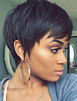 cheap -Human Hair Capless Wigs Human Hair Straight Pixie Cut Natural Hairline Nature Black Machine Made Wig Women's