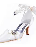 Недорогие -Жен. Обувь Шёлк Весна / Осень Удобная обувь / Туфли лодочки Обувь на каблуках На шпильке Белый / Телесный