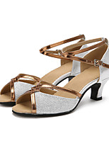 baratos -Mulheres Sapatos de Dança Latina Glitter Salto Interior Salto Personalizado Personalizável Sapatos de Dança Dourado / Preto / Prata
