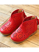 cheap -Girls' Shoes PU Spring Fall Flower Girl Shoes Fashion Boots Boots Booties / Ankle Boots for Casual White Red Pink