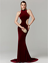 cheap -Mermaid / Trumpet High Neck Sweep / Brush Train Velvet Prom / Formal Evening Dress with Ruched by TS Couture®