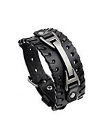 abordables -Homme Femme Cuir Cool Bracelets en cuir - Pierre Irrégulier Noir Marron Bracelet Pour Soirée Plein Air