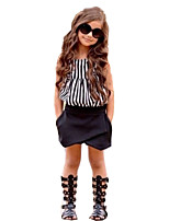 cheap -Girls' Daily Going out Striped Clothing Set, Cotton Polyester Spring Summer Sleeveless Cute Active Black