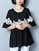 cheap -Women's Basic T-shirt - Color Block Lace