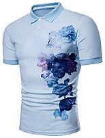 cheap -Men's Work Basic Street chic Plus Size Slim Polo - Floral Color Block, Print Shirt Collar