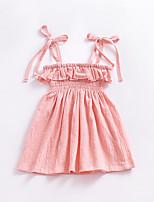 Недорогие -Девичий Платье Хлопок Однотонный Лето Без рукавов Очаровательный Розовый