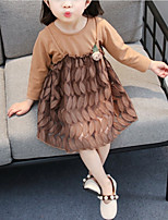 cheap -Girl's Daily School Solid Colored Dress, Cotton Spring Summer Long Sleeves Cute Brown