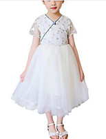 cheap -Girl's Daily Holiday Solid Colored Dress, Polyester Summer Short Sleeves Cute Active White Blushing Pink