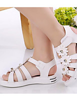 cheap -Girls' Shoes PU Summer Flower Girl Shoes Comfort Sandals for Casual White Peach Pink