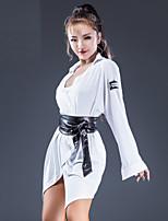 abordables -Danse latine Robes Femme Utilisation Coton cristal Ruché Manches Longues Robe