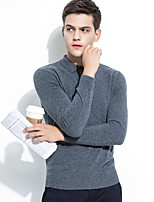cheap -Men's Long Sleeves Wool Pullover - Solid Colored Shirt Collar