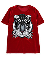 cheap -Women's Holiday Basic T-shirt - Animal Tiger, Sequins / Embroidered / Summer
