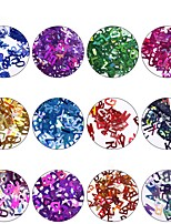 abordables -12pcs Nail Glitter Paillettes Glitters Couleur mixte Nail Art Design