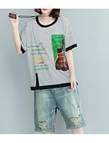 abordables -Mujer Básico Camiseta Geométrico