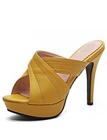 cheap -Women's Shoes Leatherette Summer Slingback Slippers & Flip-Flops Stiletto Heel Open Toe for Party & Evening Black Beige Yellow