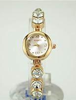 baratos -Mulheres Bracele Relógio Chinês Quartzo Relógio Casual Lega Banda Fashion Dourada