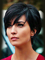 cheap -Human Hair Capless Wigs Human Hair Wavy Pixie Cut Natural Hairline Nature Black Machine Made Wig Women's