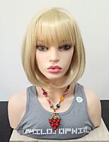 Недорогие -Парики из искусственных волос Прямой Стрижка боб Искусственные волосы Жаропрочная / С Bangs Блондинка Парик Жен. Средняя длина Парик из