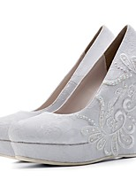 cheap -Women's Shoes Lace Spring Summer Comfort Wedding Shoes Wedge Heel Round Toe Rhinestone for Wedding Party & Evening White