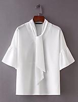 cheap -Women's Vintage Cotton Blouse - Solid Colored, Tassel