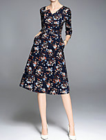 cheap -MMLJ Women's Sophisticated A Line Dress - Floral, Print