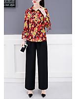 Недорогие -Жен. Рубашка Брюки Цветочный принт