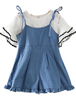 cheap -Girls' Daily Solid Colored Clothing Set, Cotton Rayon Summer Short Sleeves Basic Blue