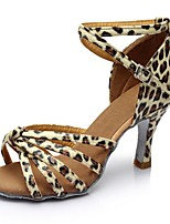 cheap -Women's Latin Shoes Leatherette Sandal / Heel Splicing Customized Heel Customizable Dance Shoes Leopard / Indoor