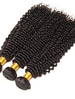 Недорогие -Бразильские волосы Кудрявый Накладки из натуральных волос Ткет человеческих волос Удлинитель / Горячая распродажа Черный Все