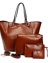 cheap -Women's Bags PU Bag Set 4 Pieces Purse Set Buttons for Shopping Casual All Seasons Black Red Gray Brown Wine