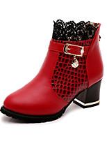 baratos -Mulheres Sapatos Courino Primavera Verão Botas da Moda Inovador Conforto Botas Salto Robusto para Festas & Noite Preto Vermelho