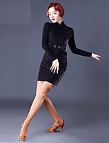abordables -Danse latine Robes Femme Utilisation Mousseline de Soie Velours Ruché Manches Longues Robe