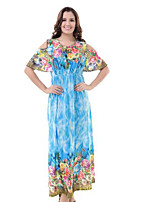 Недорогие -Жен. Классический Богемный Кафтан Платье - Цветочный принт Макси