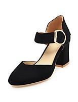 abordables -Mujer Zapatos Cuero Nobuck Primavera / Verano Pump Básico Tacones Tacón Cuadrado Dedo redondo Hebilla Negro / Beige / Rosa