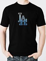 abordables -Camisetas LED  Iluminación Diseños de Moda Electroluminiscencia Fosforescente Activada por Sonido Puro algodón Fiesta Casual 2 Baterías