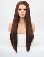 Недорогие -Синтетические кружевные передние парики Прямой Боковая часть 150% Человека Плотность волос Искусственные волосы Природные волосы / Да
