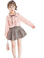 Недорогие -Девочки Однотонный Набор одежды, Хлопок Весна Осень Длинный рукав Очаровательный Белый Розовый