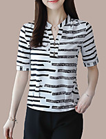 cheap -Women's Basic Blouse-Striped,Print