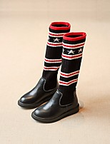 cheap -Girls' Shoes Cowhide Fall Winter Fashion Boots Boots Mid-Calf Boots for Casual Black
