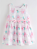 cheap -Girl's Daily Print Dress Summer Cute Basic White