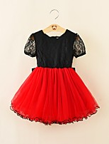 cheap -Girl's Party Going out Solid Colored Dress, Cotton Polyester Summer Short Sleeves Cute Active Red